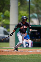 Jupiter Hammerheads Jose Devers (1) hits a single during a Florida State League game against the Dunedin Blue Jays on May 16, 2019 at Jack Russell Memorial Stadium in Clearwater, Florida.  Dunedin defeated Jupiter 1-0.  (Mike Janes/Four Seam Images)