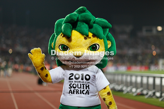 RUSTENBURG, SOUTH AFRICA - JUNE 12:  Zakumi, the official mascot of the 2010 FIFA World Cup South Africa seen prior to the start of a match between England and the United States June 12, 2010 in Rustenburg, South Africa.  NO mobile use.  Editorial ONLY.  (Photograph by Jonathan P. Larsen)