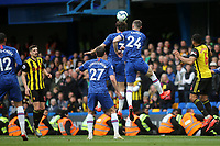 Gary Cahill of Chelsea heads the ball out of defence  during Chelsea vs Watford, Premier League Football at Stamford Bridge on 5th May 2019