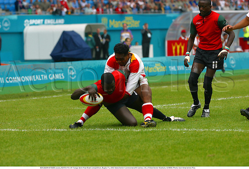 BENJAMIN AYIMBA scores, KENYA 10 v 41 Tonga, Semi final Bowl competition, Rugby 7's, 2002 Manchester Commonwealth Games, City of Manchester Stadium, 020804. Photo: Glyn Kirk/Action Plus...union.international internationals.sevens 7s................................