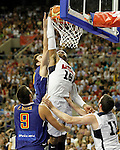 Spain's Felipe Reyes (l) and Victor Claver (c-l) and USA's Carmelo Anthony (c-r) and Kevin Love (r) during friendly match.July 24,2012. (ALTERPHOTOS/Acero)