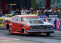 Sept. 15, 2012; Concord, NC, USA: NHRA pro mod driver Todd Tutterow during qualifying for the O'Reilly Auto Parts Nationals at zMax Dragway. Mandatory Credit: Mark J. Rebilas-