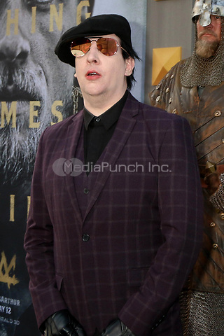 "HOLLYWOOD, CA - MAY 8: Marilyn Manson at the premiere Of Warner Bros. Pictures' ""King Arthur: Legend Of The Sword"" at the TCL Chinese Theatre In California on May 8, 2017. Credit: David Edwards/MediaPunch"