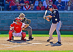 24 September 2012: Milwaukee Brewers first baseman Corey Hart at bat against the Washington Nationals at Nationals Park in Washington, DC. The Brewers fell 12-2 to the Nationals in the final game of their 4-game series, splitting the series at two. Mandatory Credit: Ed Wolfstein Photo