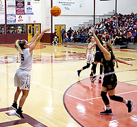 Westside Eagle Observer File Photo/RANDY MOLL<br />Gentry senior Meledy Owens shoots from behind the three-point line during play against West Fork on Dec. 3 in Gentry. Owens has been racking up points with her three-point shots this season..