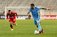 HARRISON, NJ - FEBRUARY 26: Ronald Matarrita #22 of NYCFC during a game between AD San Carlos and NYCFC at Red Bull on February 26, 2020 in Harrison, New Jersey.