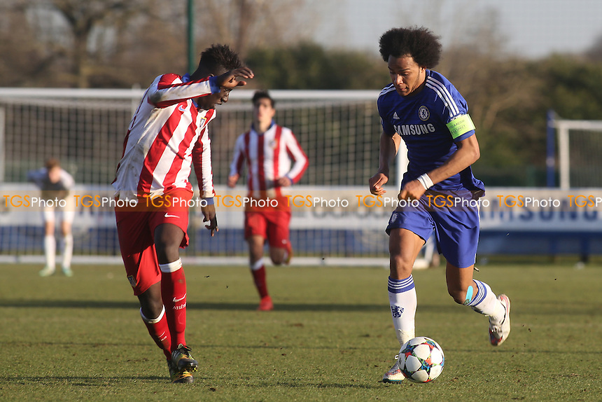 Isaiah Brown of Chelsea takes on the Athletico Madrid defence - Chelsea Under-19 vs Athletico Madrid Under-19 - UEFA Under-19 Champions League Quarter-Final Football at Cobham Training Ground, Surrey - 10/03/15 - MANDATORY CREDIT: Paul Dennis/TGSPHOTO - Self billing applies where appropriate - contact@tgsphoto.co.uk - NO UNPAID USE