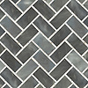 Puccini, a hand-cut stone mosaic, shown in honed Greystoke and polished Calacatta.