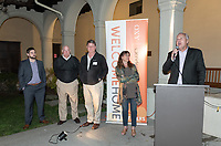From left, Mike Wells, Jim Hennacy, Brad Hall, Amy Marcus-Newhall '84 and Coach Brian Newhall '83<br /> Now in his 30th year as Oxy's head men's basketball coach, Brian Newhall received a much deserved celebration with a surprise halftime ceremony and post game reception in the Booth Hall courtyard with more than 70 former and current players from all different generations and decades in attendance, on Saturday, Jan. 26, 2019.<br /> Newhall is the winningest coach in Oxy history and has a 100 percent graduation rate in his 30 years at the helm of the program. His resume boasts multiple SCIAC Championships and NCAA Playoff appearances, along with a run to the NCAA Division III Elite Eight in 2003 and the only perfect 14-0 season in SCIAC history. Newhall has not only coached at Oxy, but was a SCIAC Champion and SCIAC Player of the Year during his playing career at Oxy in the early 80s.<br /> (Photo by Marc Campos, Occidental College Photographer)
