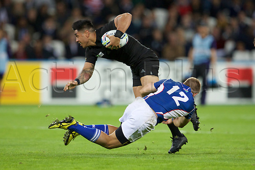24.09.2015. Olympic Stadium, London, England. Rugby World Cup. New Zealand versus Namibia. Namibia centre Johan Deysel tackles.