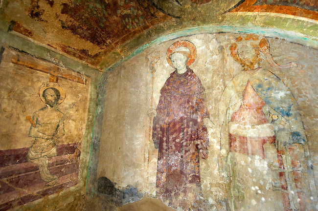 Gothic paintings in the church of Siklos castle ( siklosi var) near Villany, Hungary