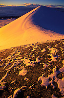 Snow covered cinder cone at the summit of Mauna Kea.