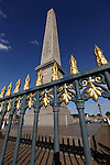 Obelisk behind railing in Concorde Square Place de la Concorde. Paris. France