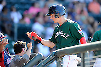 Right fielder Nick Longhi (21) of the Greenville Drive is congratulated after scoring a run in a game against the Charleston RiverDogs on Sunday, June 28, 2015, at Fluor Field at the West End in Greenville, South Carolina. Longhi is the No. 27 prospect of the Boston Red Sox, according to Baseball America. Charleston won, 12-9. (Tom Priddy/Four Seam Images)