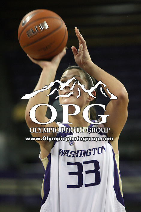 December 31, 2010:  Washington Huskies center Mackenzie Argens sets up for a free throw against UCLA.  UCLA defeated Washington 60-48 at Hec Ed Arena in Seattle, WA.