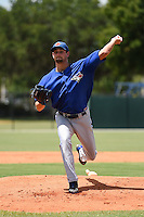GCL Blue Jays pitcher Evan Smith (27) delivers a pitch during a game against the GCL Tigers on June 30, 2014 at Tigertown in Lakeland, Florida.  GCL Blue Jays defeated the GCL Tigers 3-1.  (Mike Janes/Four Seam Images)