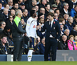 Tottenham's Emmanuel Adebayor comes on as a substitute as he talks Mauricio Pochettino<br /> <br /> - Barclays Premier League - Tottenham Hotspur vs Stoke City- White Hart Lane - London - England - 9th November 2014  - Picture David Klein/Sportimage