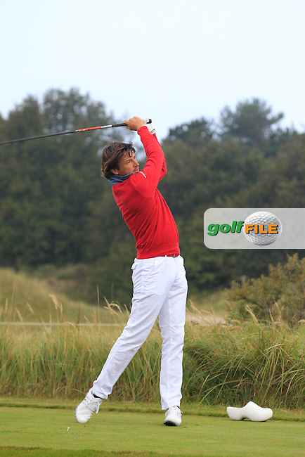 Robert-Jan Derksen (NED) on the 2nd tee during Round 4 of the KLM Open at Kennemer Golf &amp; Country Club on Sunday 14th September 2014.<br /> Picture:  Thos Caffrey / www.golffile.ie