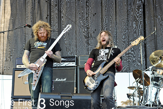 Brent Hinds and Troy Sanders of Mastodon perform during Day 2 of the Voodoo Experience at City Park in New Orleans, Louisiana on October 29, 2011.
