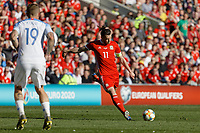 Gareth Bale of Wales takes a free kick during the UEFA EURO 2020 Qualifier match between Wales and Slovakia at the Cardiff City Stadium, Cardiff, Wales, UK. Sunday 24 March 2019