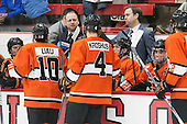 Ron Fogarty (Princeton - Head Coach), Brad Dexter (Princeton - Assistant Coach) - The Harvard University Crimson defeated the visiting Princeton University Tigers 5-0 on Harvard's senior night on Saturday, February 28, 2015, at Bright-Landry Hockey Center in Boston, Massachusetts.