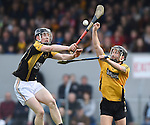 Pearse Lillis of Ballyea in action against Cathal O Connell of Clonlara during their senior county final replay at Cusack Park. Photograph by John Kelly.