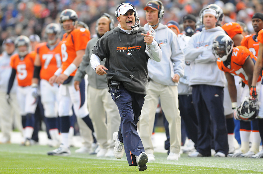 14 NOVEMBER 2010: Broncos head coach Josh McDaniels   during a regular season National Football League game between the Kansas City Chiefs and the Denver Broncos at Invesco Field at Mile High in Denver, Colorado. The Broncos beat the Chiefs 49-29.