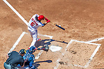 9 July 2017: Washington Nationals third baseman Anthony Rendon connects for a two-RBI double in the first inning against the Atlanta Braves at Nationals Park in Washington, DC. The Nationals defeated the Atlanta Braves to split their 4-game series going into the All-Star break. Mandatory Credit: Ed Wolfstein Photo *** RAW (NEF) Image File Available ***