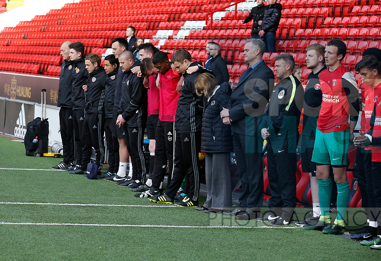 A minutes silence for Ugo Ehiogu who died earlier that day during the U18 Professional Development League 2 play off semi final match at  Bramall Lane, Sheffield. Picture date: April 21st 2017. Pic credit should read: Simon Bellis/Sportimage