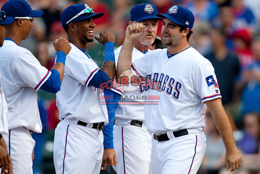 Round Rock Express third baseman Tommy Mendonca #24 is introduced before the MLB exhibition baseball game against the Texas Rangers on April 2, 2012 at the Dell Diamond in Round Rock, Texas. The Rangers out-slugged the Express 10-8. (Andrew Woolley / Four Seam Images).