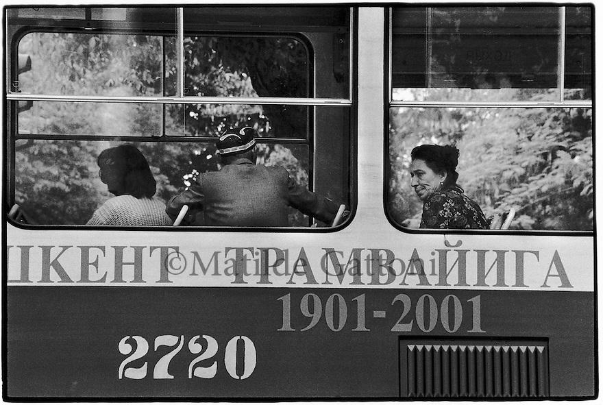 Uzbekistan - Tashkent - Passengers sitting in the tram.