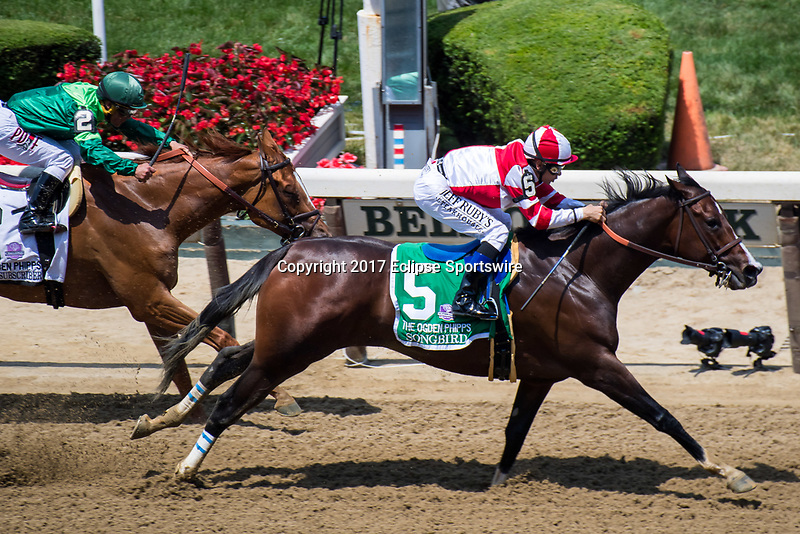 ELMONT, NY - JUNE 10: Songbird #5, ridden by Mike Smith, wins the Ogden Phipps Stakes on Belmont Stakes Day at Belmont Park on June 10, 2017 in Elmont, New York (Photo by Dan Heary/Eclipse Sportswire/Getty Images)