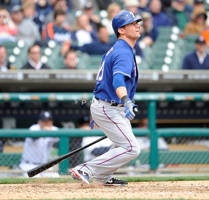 MICHAEL YOUNG, of the Texas Rangers, in action during the Rangers game against the Detroit Tigers on April 11, 2011 at Comerica Park in Detroit, Michigan.  The Rangers beat the Tigers 2-0.