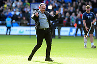 Steve Cooper Head Coach of Swansea City celebrates to the fans at the final whistle during the Sky Bet Championship match between Swansea City and Cardiff City at the Liberty Stadium in Swansea, Wales, UK. Sunday 27 October 2019
