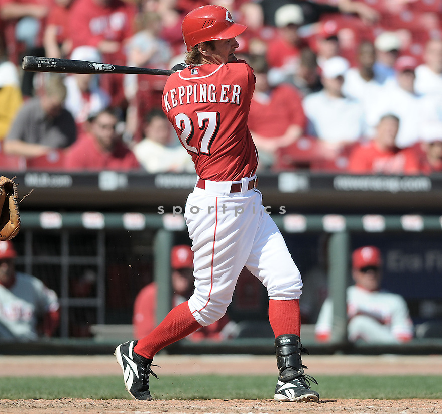 JEFF KEPPINGER, of the Cincinnati Reds , in action during the  Reds, game against the Philadelphia Phillies in Cincinnati, Ohio  on April 6, 2008...REDS win 8-2...CHRIS BERNACHHI / SPORTPICS..
