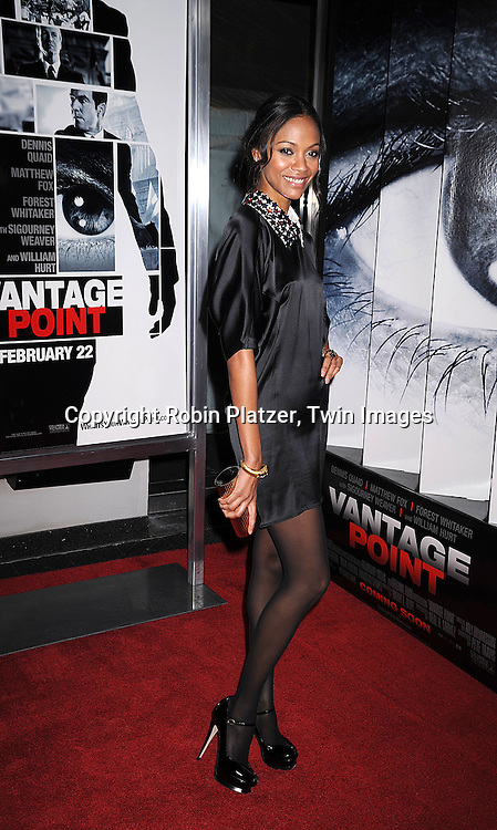 "actress Zoe Saldana in Yves St Laurent dress and Neil Lane jewelry.arriving at The World Ptemiere of ""Vantage Point"" .on February 20, 2008 at The AMC Lincoln Square Theatre in New York City. The movie stars Dennis Quaid, Matthew Fox, Forest Whitaker, Sigourney Weaver and Zoe Saldana. ..Robin Platzer, Twin Images..212-935-0770"