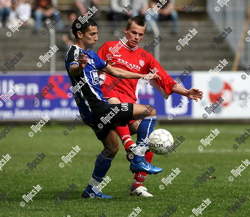 2008-04-27 / Voetbal / Rupel-Boom - Tempo Overijse / Said El Harchi (L, Rupel-Boom) met Raphaël Galeri..Foto: Maarten Straetemans (SMB)