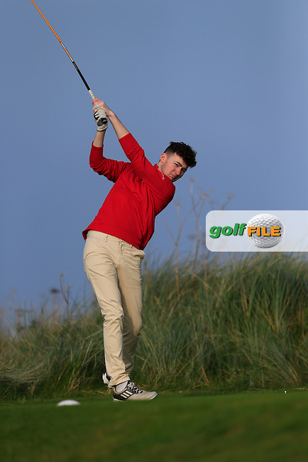 Jason O'Reilly (WIT) on the 17th green during Round 1 of the Irish Intervarsity Championship at Rosslare Golf Club on Wednesday 4th November 2015.<br /> Picture:  Thos Caffrey / www.golffile.ie