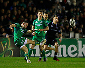 9th February 2018, Galway Sportsground, Galway, Ireland; Guinness Pro14 rugby, Connacht versus Ospreys; Caolin Blade clears the ball for Connacht for field posiion