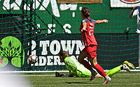Portland, OR - Saturday July 15, 2017: Hayley Raso scores a goal during a regular season National Women's Soccer League (NWSL) match between the Portland Thorns FC and the North Carolina Courage at Providence Park.