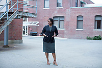 Ayanna Pressley is running in the Democratic primary Massachusetts 7th Congressional District against incumbent Mike Capuano. Pressley is currently serving as a member of the Boston City Council, and is the first woman of color elected to the Council. She is seen here outside the Chelsea Senior Center after speaking at an event put on by Chelsea Black Community in Chelsea, Massachusetts, USA, on Wed., June 27, 2018.