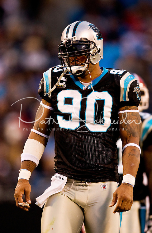 Carolina Panthers defensive end Julius Peppers (#90) at Bank of America Stadium in Charlotte, NC. Photo from the Carolina Panthers' 20-9 loss to the Buffalo Bills in Charlotte on Sunday, Oct. 25, 2009. Professional American NFL football team The Carolina Panthers represents North Carolina and South Carolina from its hometown of Charlotte, NC. The Carolina Panthers are members of the NFL's National Football Conference South Division. The Charlotte professional football team began playing in Charlotte in 1995 as an expansion team.  The Carolina Panthers play in Bank of America Stadium, formerly known as Carolinas Stadium and Ericsson Stadium.