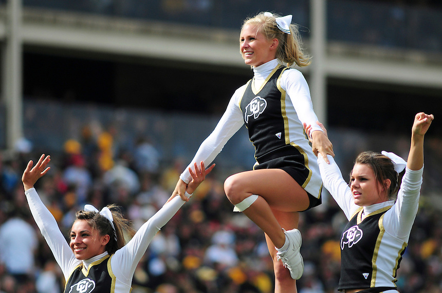 06 September 08: Colorado Cheerleaders entertain the crowd during a game against Eastern Washington. The Colorado Buffaloes defeated the Eastern Washington Eagles 31-24 at Folsom Field in Boulder, Colorado. FOR EDITORIAL USE ONLY