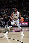 Keyshawn Woods (1) of the Wake Forest Demon Deacons on offense during first half action against the Virginia Tech Hokies at the LJVM Coliseum on January 10, 2018 in Winston-Salem, North Carolina.  The Hokies defeated the Demon Deacons 83-75.  (Brian Westerholt/Sports On Film)