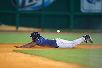 San Antonio Missions third baseman Duanel Jones (17) slides into second during a game against the NW Arkansas Naturals on May 30, 2015 at Arvest Ballpark in Springdale, Arkansas.  San Antonio defeated NW Arkansas 5-2.  (Mike Janes/Four Seam Images)