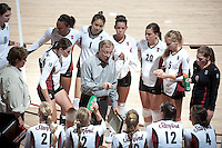 STANFORD, CA - September 2, 2010: Head Coach John Dunning speaks with the team during a volleyball match against UC Irvine in Stanford, California. Stanford won 3-0.