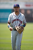 Lancaster JetHawks second baseman Alan Trejo (2) warms up before a California League game against the San Jose Giants at San Jose Municipal Stadium on May 13, 2018 in San Jose, California. San Jose defeated Lancaster 3-0. (Zachary Lucy/Four Seam Images)
