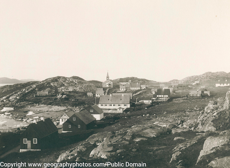 Greenland in the late 19th-early 20th century.  The town of Nuuk Godthåb.  1889