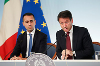 Luigi Di Maio, Giuseppe Conte<br /> Roma 20/10/2018. Consiglio dei Ministri sulla Manovra Economica DEF.<br /> Rome October 20th 2018. Minister's Cabinet about the Economic and Financial Document.<br /> Foto Samantha Zucchi Insidefoto