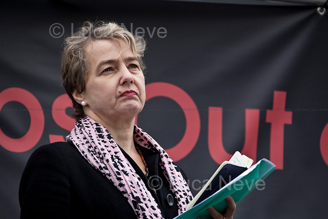 Kate Hudson (UK academic and political activist, currently the General Secretary of the Campaign for Nuclear Disarmament).<br /> <br /> London, 08/10/2011. Today Trafalgar Square was the stage of the &quot;Antiwar Mass Assembly&quot; organised by The Stop The War Coalition to mark the 10th Anniversary of the invasion of Afghanistan. Thousands of people gathered in the square to listen to speeches given by journalists, activists, politicians, trade union leaders, MPs, ex-soldiers, relatives and parents of soldiers and civilians killed during the conflict, and to see the performances of actors, musicians, writers, filmmakers and artists. The speakers, among others, included: Jeremy Corbin, Joe Glenton, Seumas Milne, Brian Eno, Sukri Sultan and Shadia Edwards-Dashti, Hetty Bower, Mark Cambell, Sanum Ghafoor, Andrew Murray, Lauren Booth, Kate Hudson, Sami Ramadani, Yvone Ridley, Mark Rylance, Dave Randall, Roger Lloyd-Pack, Rebecca Thorn, Sanasino al Yemen, Elvis McGonagall, Lowkey (Kareem Dennis), Tony Benn, John Hilary, Bruce Kent, John Pilger, Billy Hayes, Alison Louise Kennedy, Joan Humpheries, Jemima Khan, Julian Assange, Lindsey German, George Galloway. At the end of the speeches a group of protesters marched toward Downing Street where after a peaceful occupation the police made some arrests.